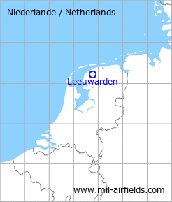 Map with location of Leeuwarden Air Base, Netherlands