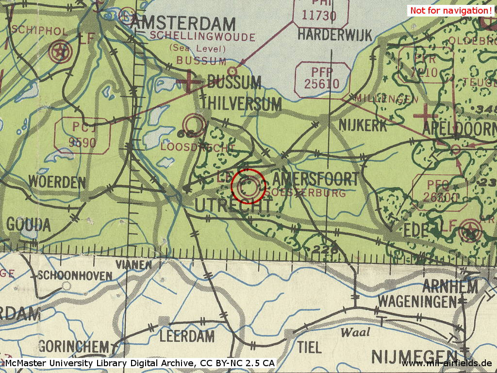 Soesterberg Air Base, Netherlands, on a map 1943
