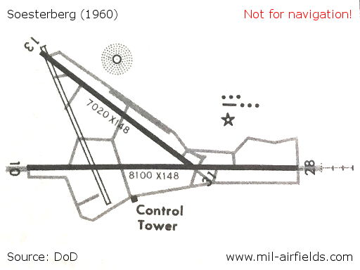 Soesterberg runways and taxiways on a map 1960