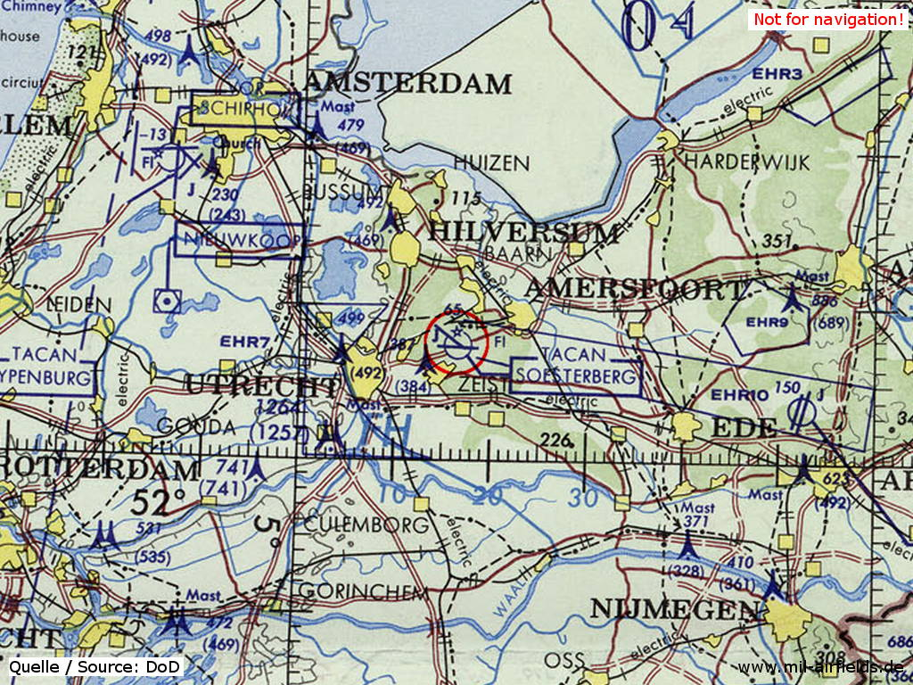 Soesterberg Air Base (Camp New Amsterdam), Netherlands, on a map 1972