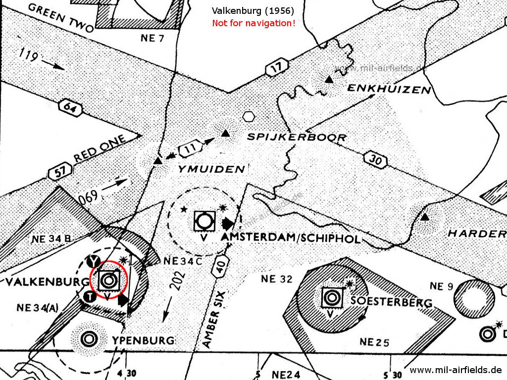 Ypenburg with surrounding airways and restricted areas in 1956