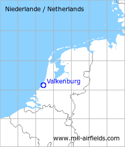 Map with location of Valkenburg Air Base, Netherlands