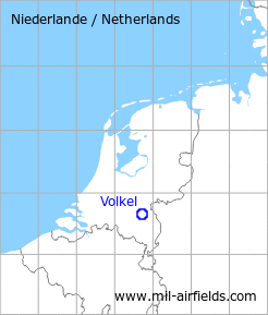 Map with location of Volkel Air Base, Netherlands