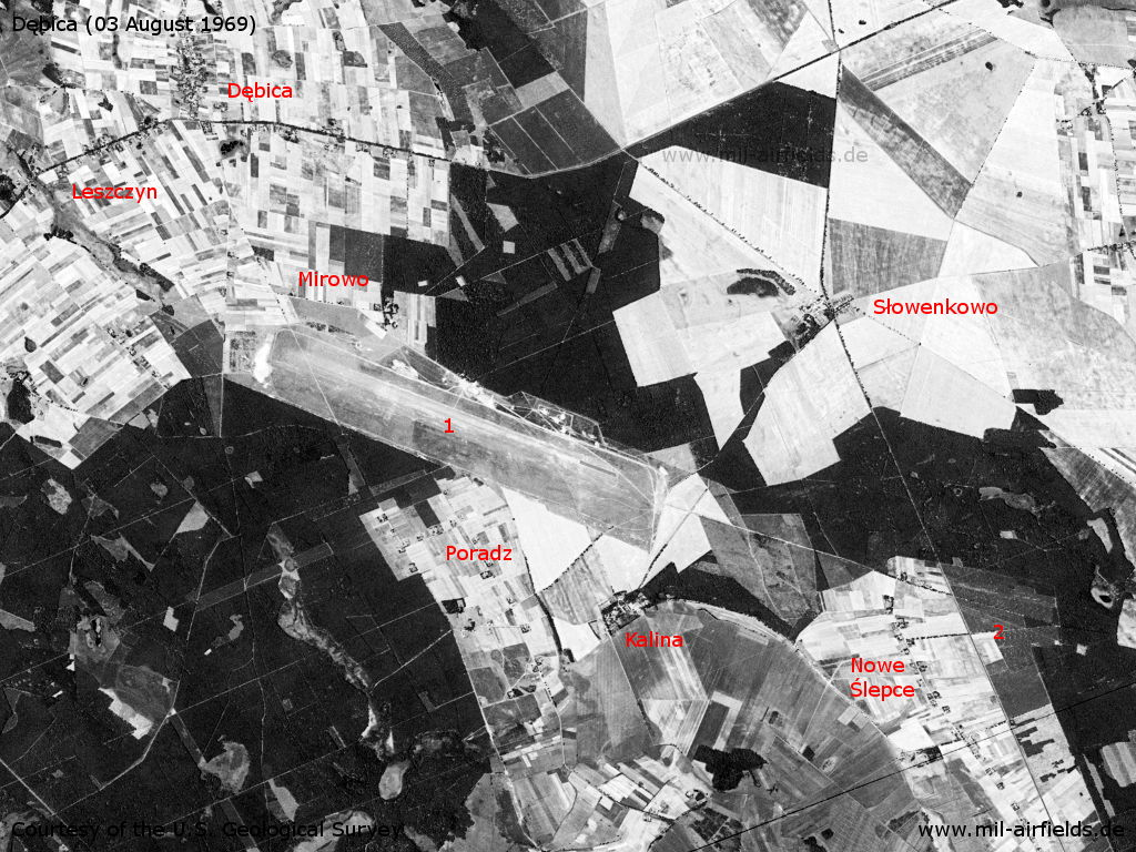 Dębica Soviet airfield, Poland, on a US satellite image 1969