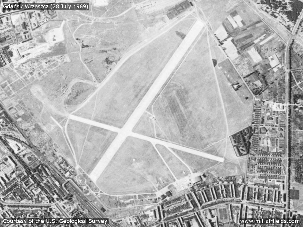 Flugplatz Wrzeszcz Gdańsk auf einem Satellitenbild 1969