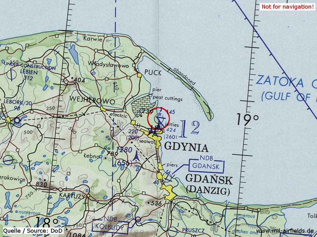 Gdynia Babie Doły Air Base, Germany, on a map 1973