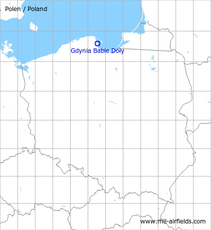 Map with location of Gdynia Babie Doły Air Base, Poland