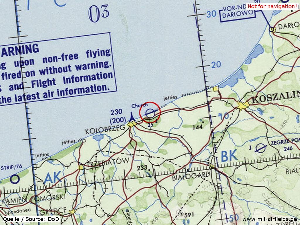 Kołobrzeg Air Base on a map 1972