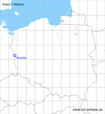 Map with location of Kunice Airfield, Poland