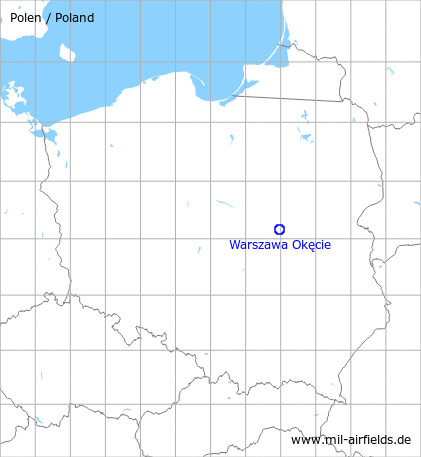 Map with location of Warsaw Okęcie Airport, Poland