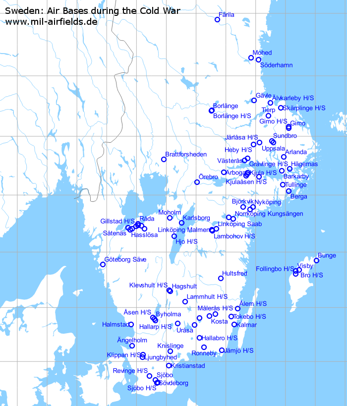 Sweden Air Bases And Military Airfields Military Airfield Directory - Sweden highway map